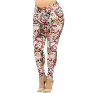 New Mix Buttery Soft Rose Paisley Leggings Size 4X